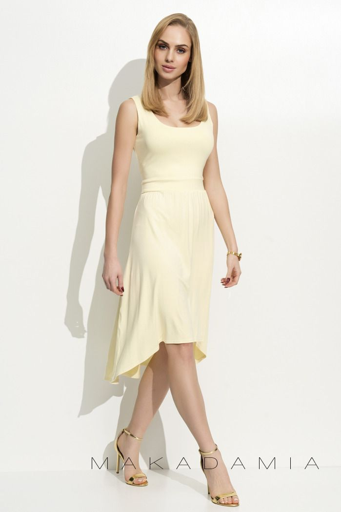 - Asymmetrical yellow dress