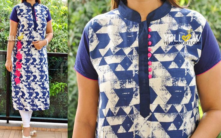 PRISMATIC! Cotton printed Kurti with embroidery.