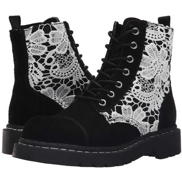 Amazon.com | T.U.K.. Women's Suede and Crochet Combat, Black, 6 M US |... ($42) ❤ liked on Polyvore featuring shoes, boots, ankle booties, black bootie, black suede boots, wide width booties, wide width ankle boots and combat boots