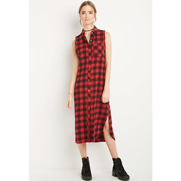 Forever 21 Raw-Cut Flannel Shirt Dress (1.545 RUB) ❤ liked on Polyvore featuring dresses, shirt-dress, forever 21 dresses, collared shirt dress, forever 21 and flannel shirt dress