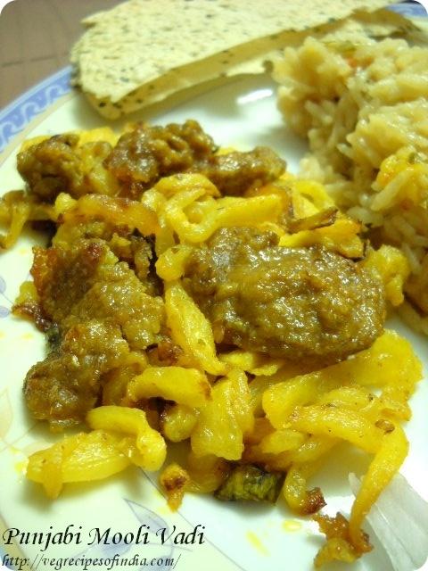 Mooli Sabzi with Wadis: Punjabi Wadi Mooli Sabzi Recipe, Mooli Sabzi with Punjabi Wadi
