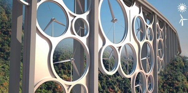 Design for a solar wind bridge that could potentially power 15,000 homes and grow vegetables.   Conception d'un pont vent solaire qui pourrait alimenter de l'énergie pour jusequ'a 15.000 maisons et cultiver des légumes.