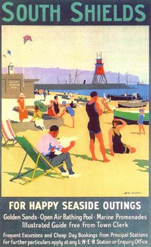 An old poster for travelling by train to South Shields, north of England during the 1920s-30s