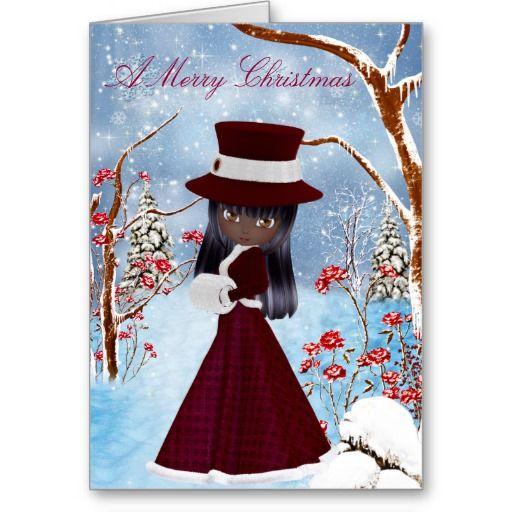 African American Girl Snow Merry Christmas Card Christmas Art