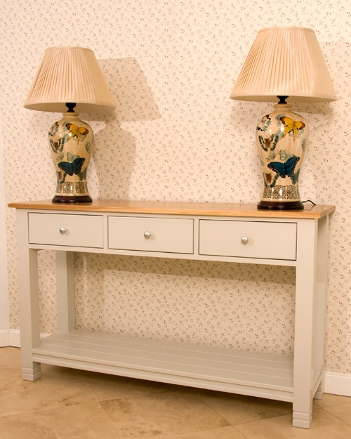 Three drawer server - 1500 x 450 x 900  Solid oak top and trimmings - base clear pine available in the a range of colours.