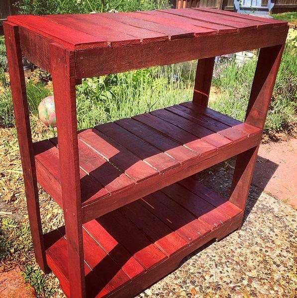 Outdoor Pallet Gardening Bench. #Rustic #Pallet #reclaim #reuse #recycle #PalletLife