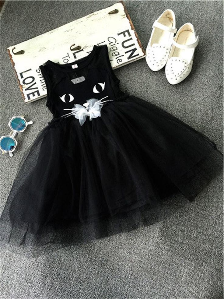 2017 Flower Cotton Lace Girls Dress Kitty Kids Casual Hot Summer Party Dress for Girls Cat Fancy Children School Clothes