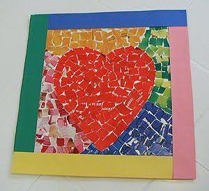 Mosaic Paper Heart   AllFreeHolidayCrafts.com
