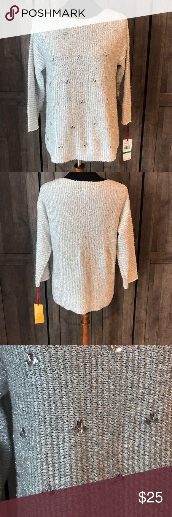 NWT $59 Ruby Rd petite sweater Super cute sweater. New with tags. $59. Silver and white. Size PL Sweaters