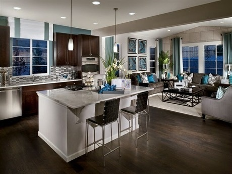 This sleek contemporary kitchen and great room makes a great place to entertain. The Perspectives Series. New homes by Ryland Homes, near Denver.: Almonds Joy Cakes, Dreams Houses, Contemporary Kitchens, Dark Cabinets, Floors Colors, My Future Home, Dark Wood, Great Rooms, Perspective Series