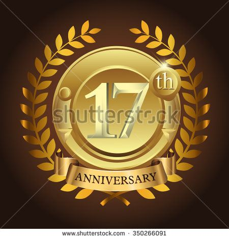 17th golden anniversary wreath ribbon logo - stock vector  #wreath #years #business #vector #sign #wheat #celebration #element #black #imperial #design #birthday #wedding #golden, #vintage #background #royal #year #advertisement #ceremony #medal #corporate #anniversary #success #template #luxury #event #emblem #modern #icon #certificate #age #gold #ad #badge #congratulation #classic #five #celebrating #laurel #happy #ribbon #5