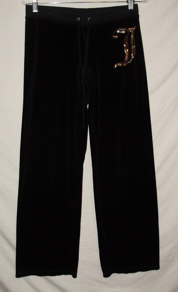 Juicy Couture Womens Size Small Black Yoga Pants Sweatpants Gold Drawstring A48 #JuicyCouture #velouryogapants
