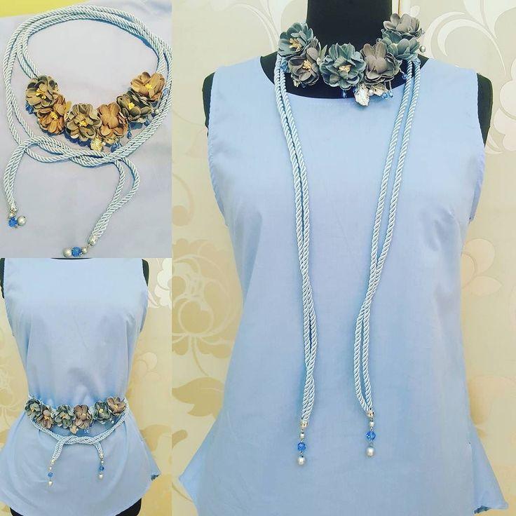 #camicia #celeste #collana #cintura #cordoncino #fiori #valeria #abbigliamento