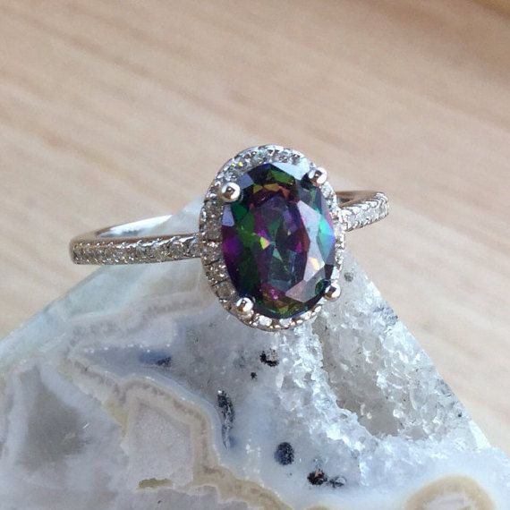 Mystic Topaz Ring Sterling Silver Gemstone size 4 5 6 7 8 9 10 - Rainbow Topaz - Gorgeous Pictures Don't Do Justice - Sparkly Gemstone