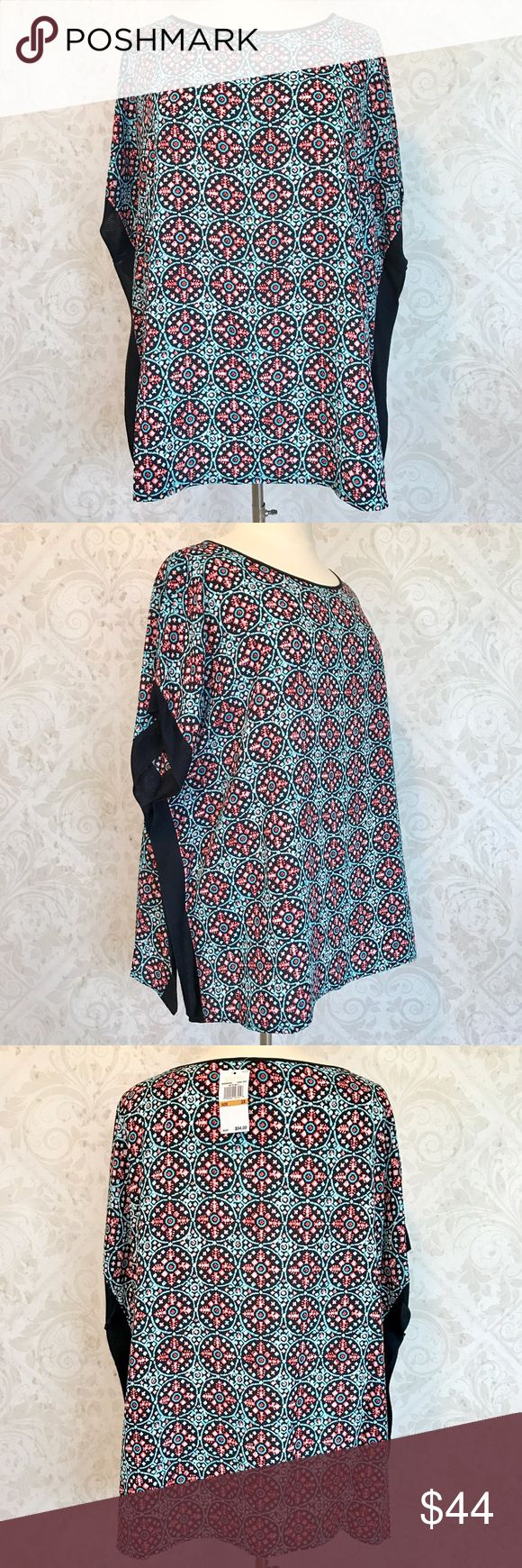 MICHAEL Michael Kors caftan tunic top Chic! Wonderful relaxed-fit caftan. Black, bright aqua, pink, and white poly crepe. No stretch. Ribbed edging at sides. Scoop neck, tunic length. Marked 3X, will work for both 2X and 3X, in my opinion. NWT; never worn. MICHAEL Michael Kors Tops Tunics