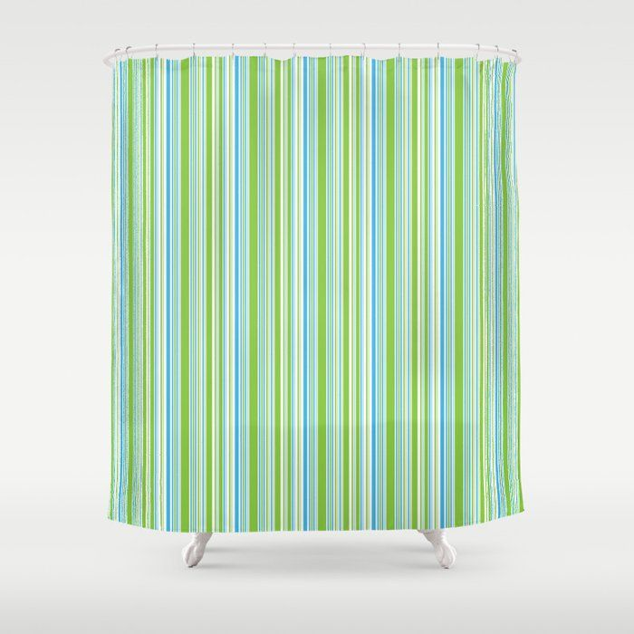 Buy Barcode Stripe Lime Green Shower Curtain By Thomandthali