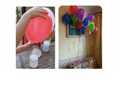 Chega de correria atrás de gás hélio para encher balões!! Você só precisa misturar vinagre e bicarbonato de sódio! Vamos aprender? Precisamos de: • 1 garrafa de litro de