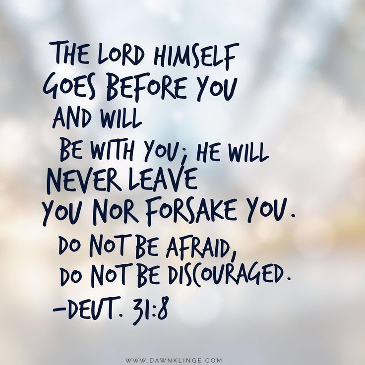 """The LORD himself goes before you and will be with you; he will never leave you nor forsake you. Do not be afraid; do not be discouraged."" Deuteronomy 31:8"
