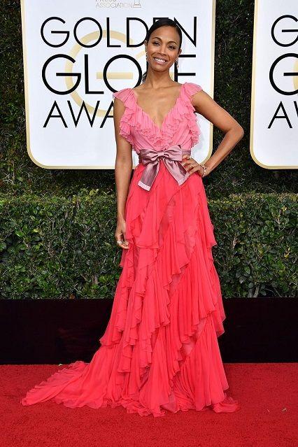 Zoe Saldana in @gucci  ai Golden Globe Awards 2017http://www.theauburngirl.com/best-dressed-of-the-weeks-golden-globes/