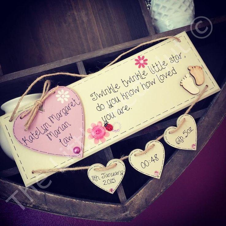 Personalised Wooden Handmade Newborn Baby Girl Birth Plaque With Verse