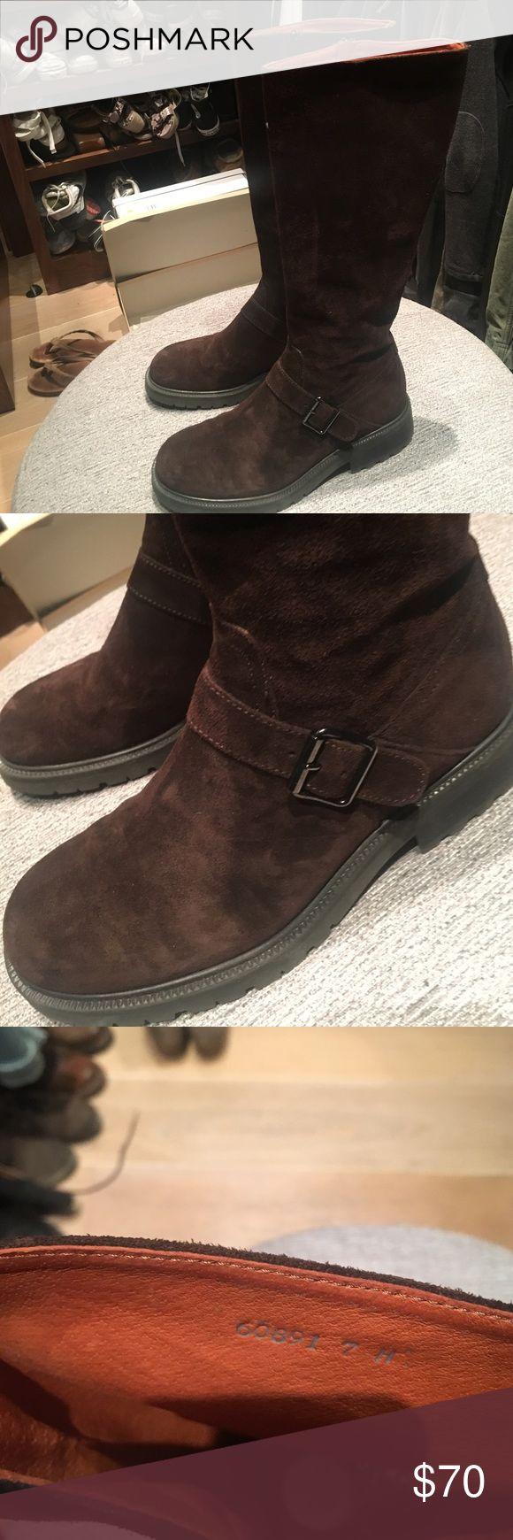 J crew suede boots Worn twice.  Super cool suede boots. Dark brown suede j crew Shoes