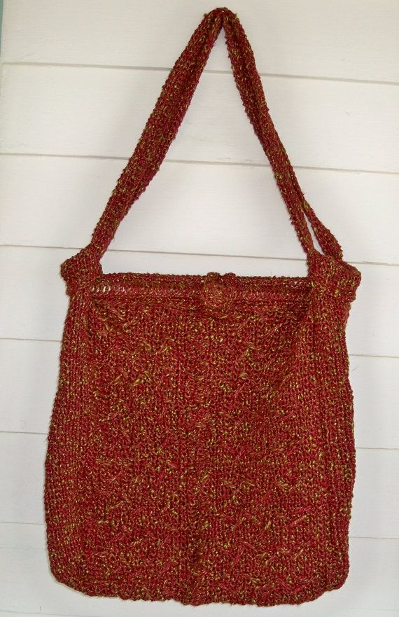 XL red Wine and olive green Purse Craft Bag eco by NicsPics4U