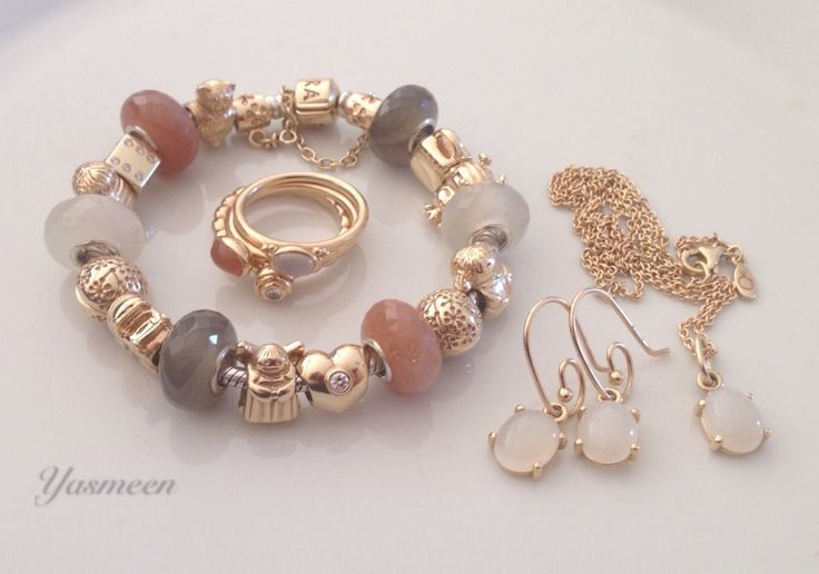 Gold Pandora with artisan moonstones.