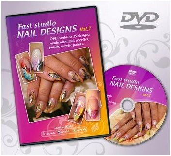 DVD 'Fast studio nail designs vol1'. 15 designs made with acrylic, color gel, polish and acrylic paint. Detailed description of every step. Attention: subtitles in english, swedish and finnish languages inside!