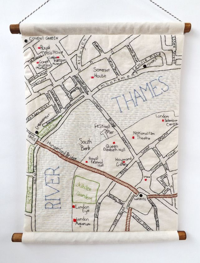 Amazing Embroidered wallhanging, showing a textile map of London's South Bank. Made by Stitch City.