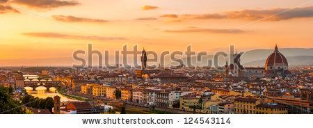 Florence city during golden sunset. Panoramic view to the river Arno, with Ponte Vecchio, Palazzo Vecchio and Cathedral of Santa Maria del Fiore (Duomo), Florence, Italy - stock photo