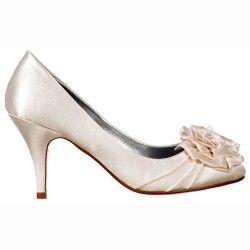 Onlineshoe Womens Low Kitten Heel Wedding Shoes Flower And Pearl Satin Bridal Pump Ivory