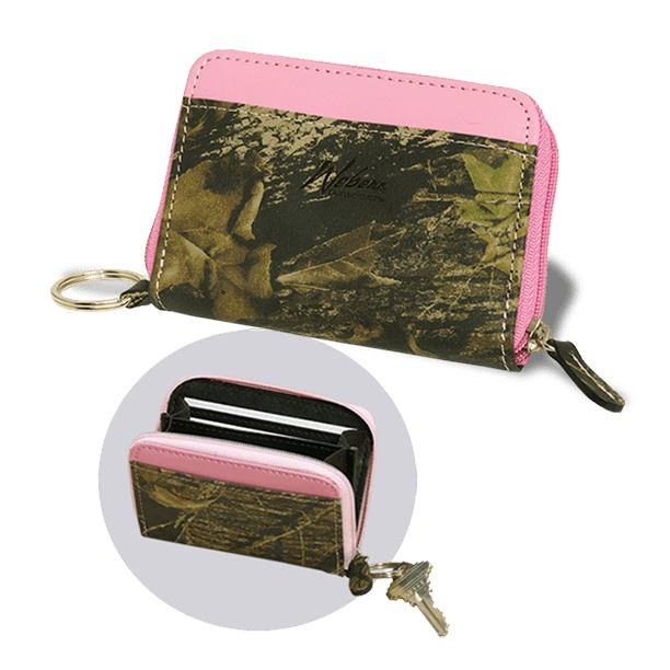 All High Quality Leather Zippered closure spans three sides for full opening Divided expandable coin purse Two interior credit card slots Two external card slots Attached ring for keys