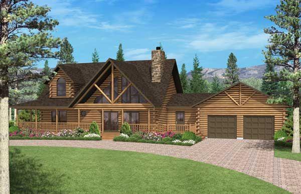"""Big Timber"" log home plan (Elevation Image 6998)"