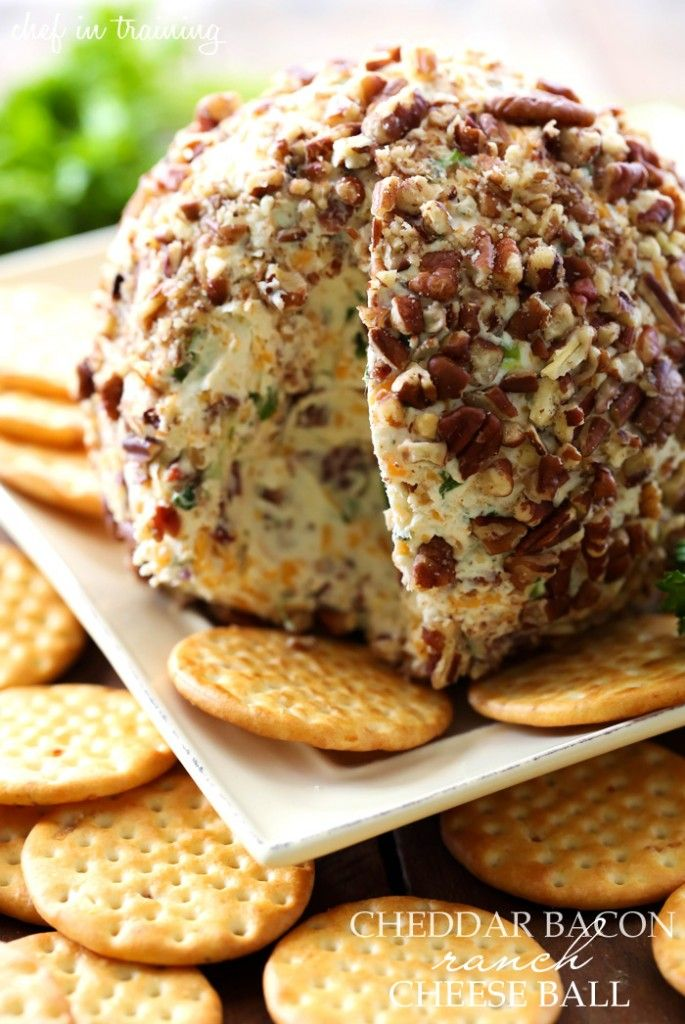 Cheddar Bacon Ranch Cheese Ball. Seriously y'all. This only has a few ingredients and is SO easy to make!  -G