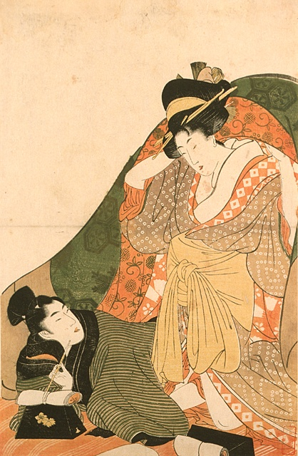 Kitagawa Utamaro (Japan, 1753 - 1806)  Lovers under a Futon, circa 1800  Print, Color woodblock print, Image: 15 1/16 x 9 7/8 in. (380.2 x 25 cm) Paper: 15 1/16 x 9 15/16 in. (38.2 x 25.2 cm)  Los Angeles County Fund (16.14.107)  Japanese Art Department