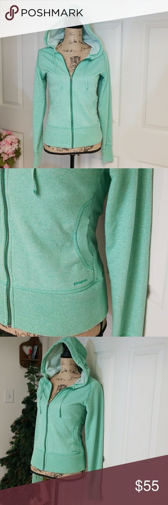 Patagonia Zip-Up Hoodie Excelent condition  Light green zip-up hoodie with 2 front side pockets   Thumb holes Patagonia Tops Sweatshirts & Hoodies