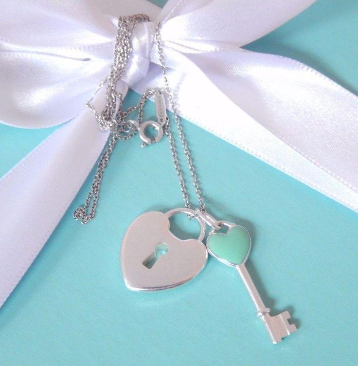 Tiffany & Co Silver Blue Heart Key and Heart Lock Double Charm Pendant Necklace #TiffanyCo #Pendant