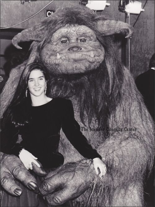 Ludo getting to grips with Jennifer Connelly at the Royal Command Premiere of Labyrinth (1986).  Photo from The Jennifer Connelly Center.