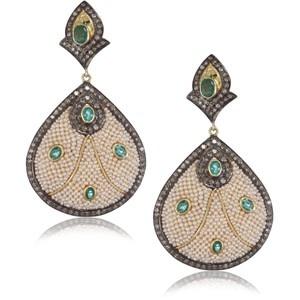 """Kevia """"Byzantium"""" Emerald Pearl Brocade Earrings"""
