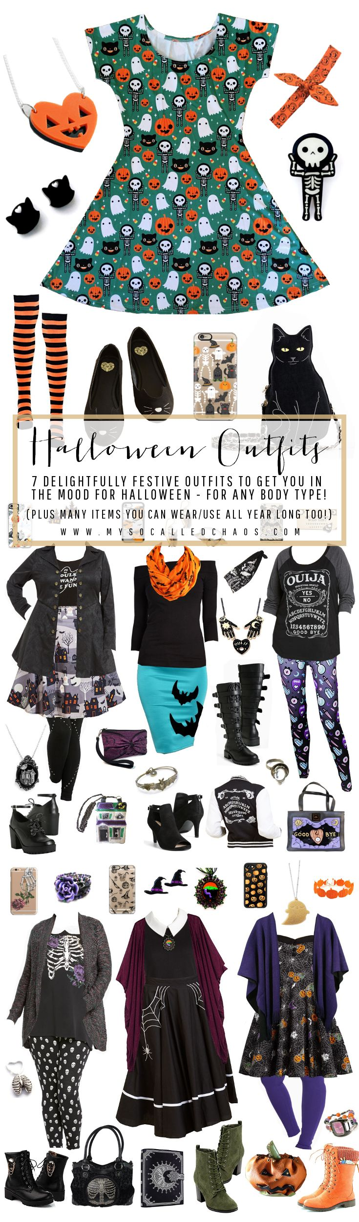 I am seriously so in love with all of these outfits!   7 Delightfully Festive Halloween Outfits for Any Body Type http://mysocalledchaos.com/2016/10/7-halloween-outfits.html