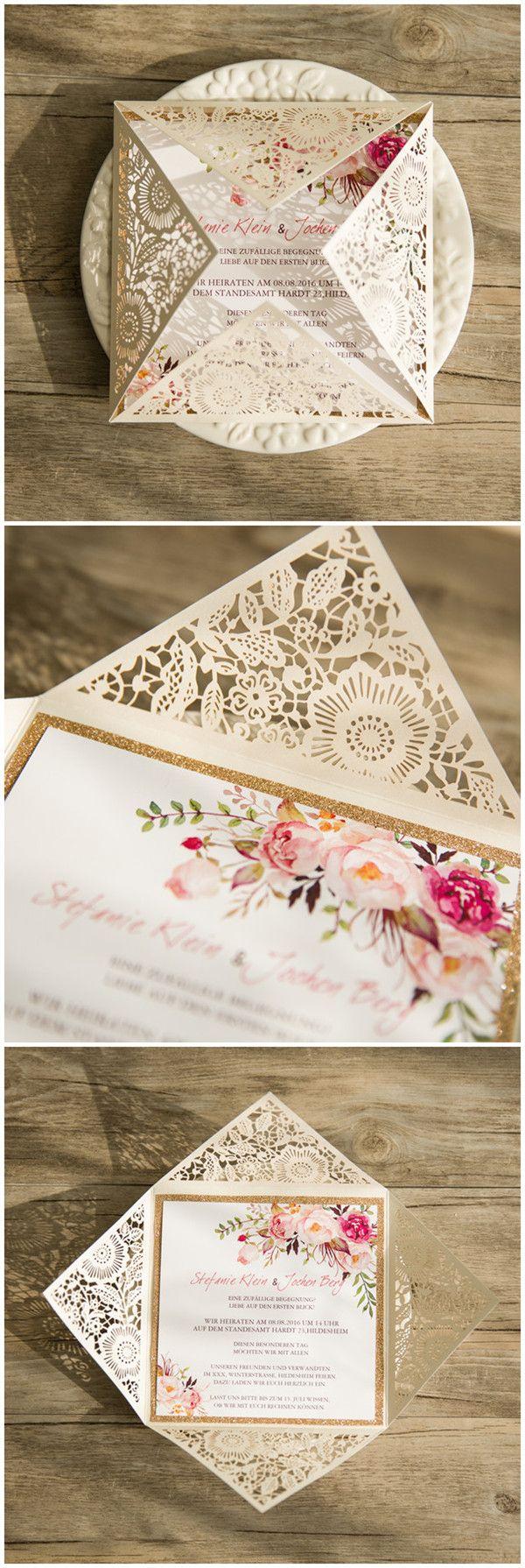 #boho #weddinginvitations chic Bohemian Hochzeitseinladungskarte mit Spitzen und Rose Blumen