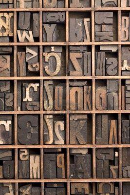 Vintage printer's letterpress wood block drawer