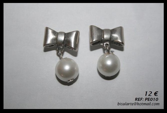 Pendientes de lazo de plata vieja y perlas