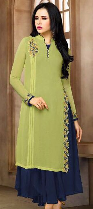 498967 Blue, Green color family Kurti in Georgette fabric with Machine Embroidery, Resham, Thread work .