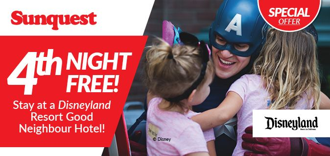 4th Night FREE! Stay at a Disneyland Resort Good Neighbour Hotel! http://www.sunquest.ca/en/disneyland-resort-hotel