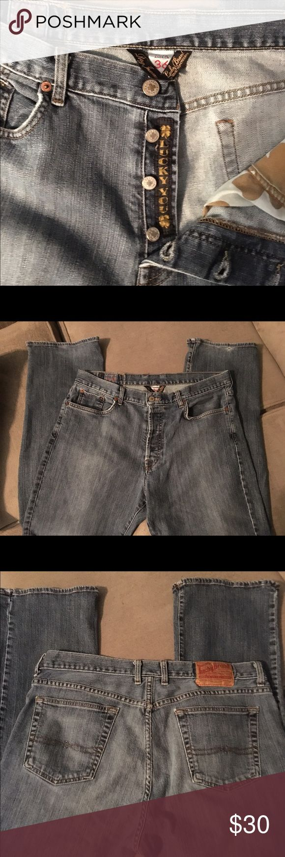 """Men's Lucky Brand jeans size 36"""" Men's Lucky Brand jeans, low rise boot cut fit. Button fly says """"Lucky You"""" inside. Inseam 32"""". Lucky Brand Jeans Bootcut"""