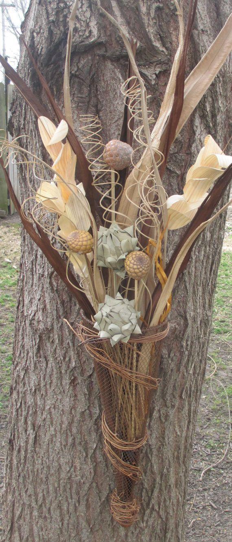 rustic flower vase arrangements | Rustic Floral Arrangement, Dried Flower Arrangement, Cottage Chic ...