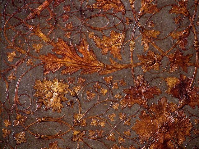 wallpaper--looks like hand tooled leather from colonical williamsburg...stunning #wallpaper #tooled