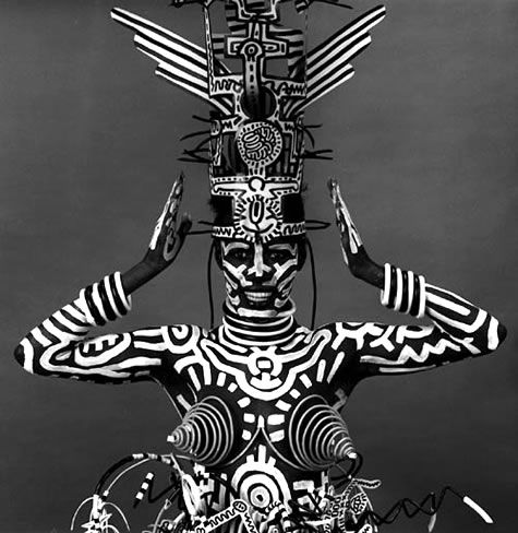 Grace Jones × Keith Haring | Untitled (body painting), 1984
