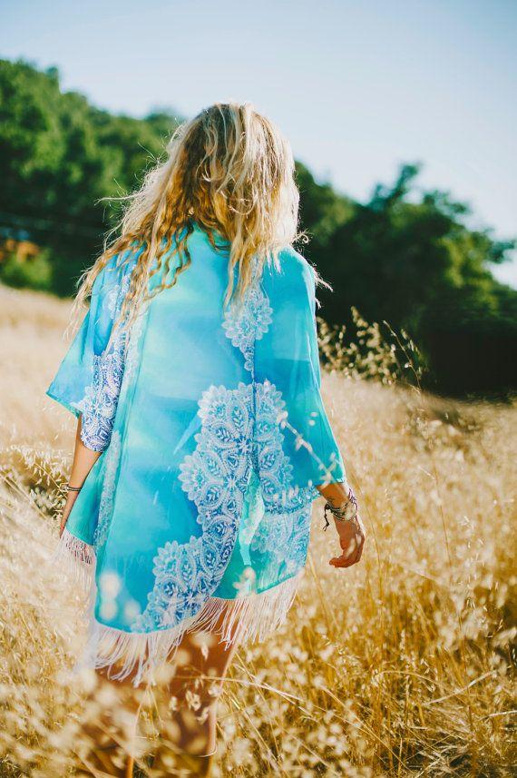 Womens Clothing Kimono Bohemian Clothing Boho Turquoise Ombre Kimono by…
